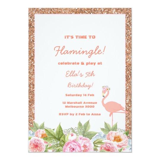 Let's Flamingle Flamingo Birthday Invitation