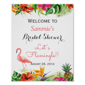 Let's Flamingle Flamingo Bridal Shower Sign Poster