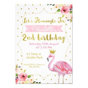 Lets Flamingle Floral 2nd Birthday Invitation