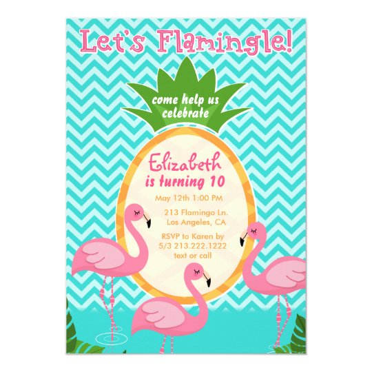Let's Flamingle Tropical Birthday Invitation
