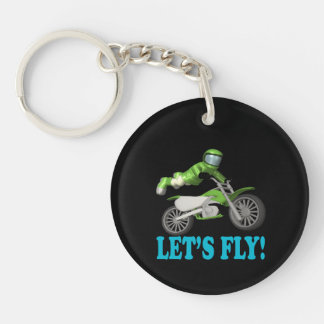 Lets Fly 2 Double-Sided Round Acrylic Key Ring