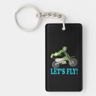 Lets Fly 2 Double-Sided Rectangular Acrylic Key Ring