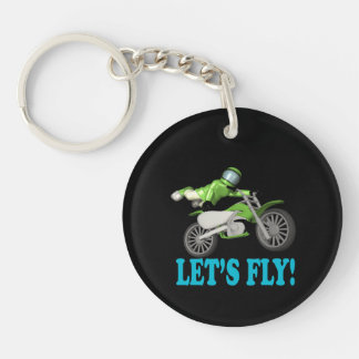 Lets Fly Double-Sided Round Acrylic Key Ring