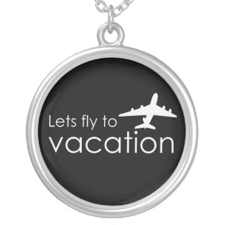 Lets fly to vacation silver plated necklace