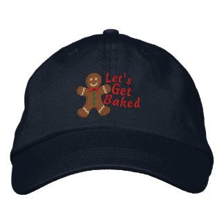 Let's get Baked says Gingerbread Man Embroidered Hat