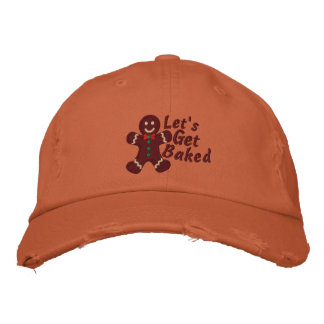 Let's get Baked says Gingerbread Man embroidery Baseball Cap