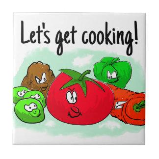 Lets get cooking with cartoon vegetables ceramic tile