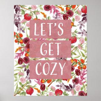 Let's get cozy watercolor art poster