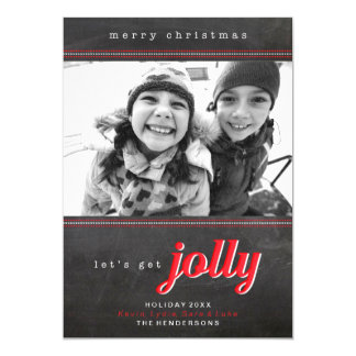 Let's Get Jolly Holiday Christmas Card Personalized Invitation