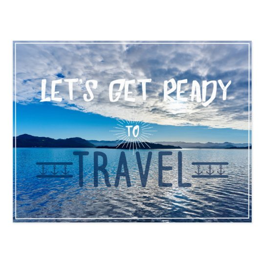 Let's get read to travel Typography Postcard
