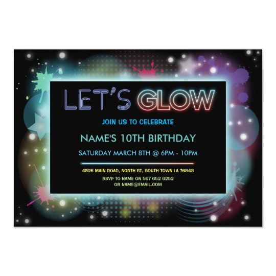 Let's Glow Birthday Party Invite Neon Blue Party