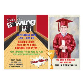 Let's Go Bowling Red Boys Birthday Photo Invite