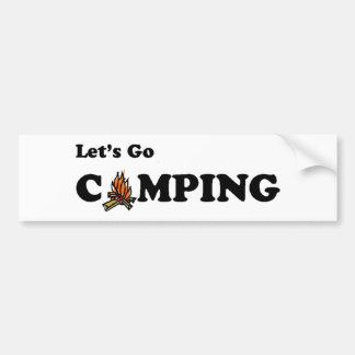 Let's Go Camping Camp Fire Bumper Sticker