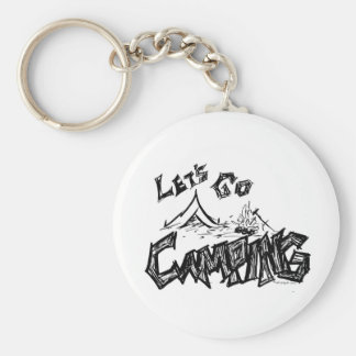 Let's Go Camping Outdoor Design Basic Round Button Key Ring