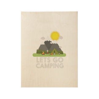 Lets go Camping Wood Poster