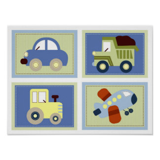 Let's Go Car Truck Airplane Nursery Wall Art Print