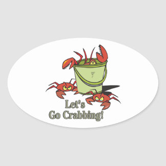 lets go crabbing bucket of crabs graphic oval sticker