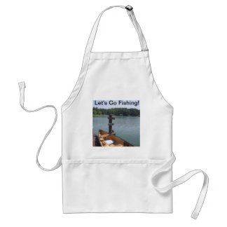 Let's Go Fishing Apron with Photo of Boat and Dock