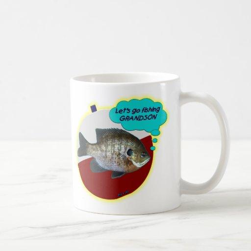 Let's Go Fishing Grandson Basic White Mug