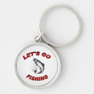 Lets go fishing Silver-Colored round key ring