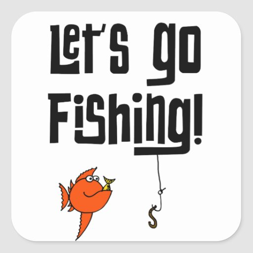Lets Go Fishing! Square Stickers