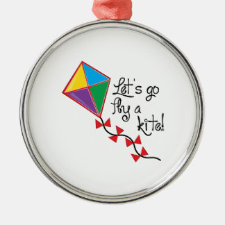Lets Go Fly a Kite Silver-Colored Round Decoration