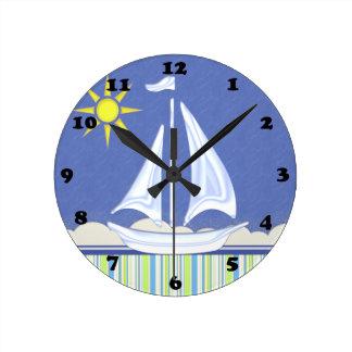 Let's Go Sailing Round Clock
