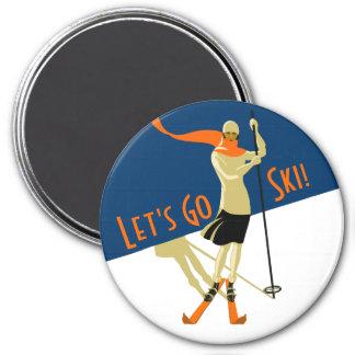 Let's Go Ski! Vintage Design Skiers Magnet
