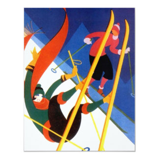"""LET'S GO SKIING"" art deco style skiing Invitation 4.25"" X 5.5"" Invitation Card"