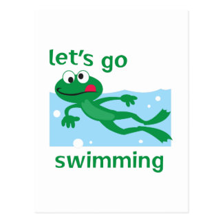 LETS GO SWIMMING POSTCARD
