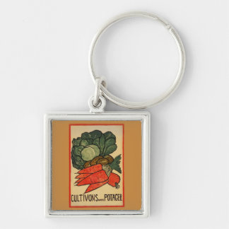Let's Grow a Vegetable Garden Silver-Colored Square Key Ring