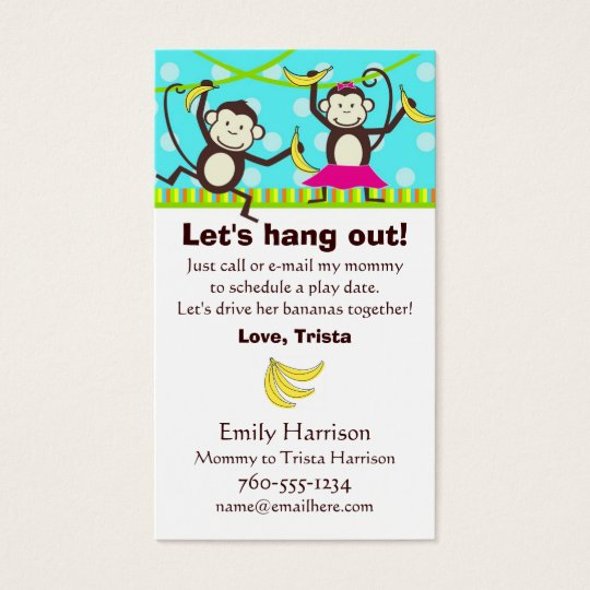 Let's Hang Out, Monkey Play Date Cards