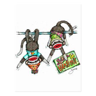 Let's Hang Out - Sock Monkeys Postcard