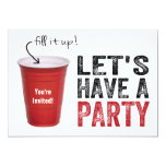 Let's Have a Party! Funny Red Cup 13 Cm X 18 Cm Invitation Card