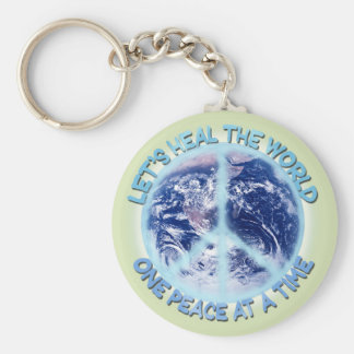 Let's heal the World Sticker Basic Round Button Key Ring