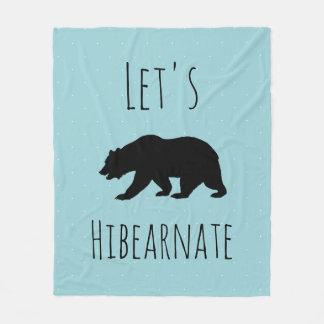 Let's Hibearnate Black Bear Silhouette & Micro Dot Fleece Blanket