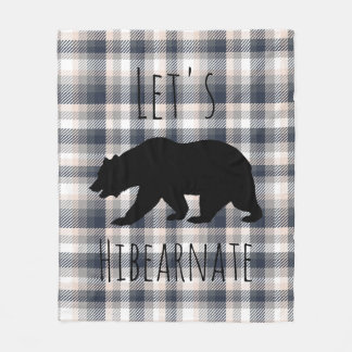 Let's Hibearnate White Bear & Gray Cream Plaid Fleece Blanket
