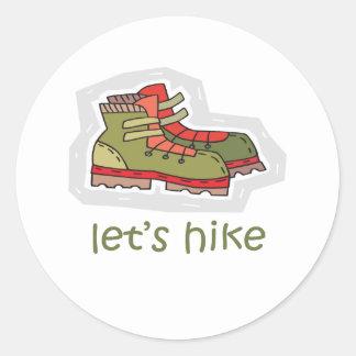 Let's Hike Round Sticker