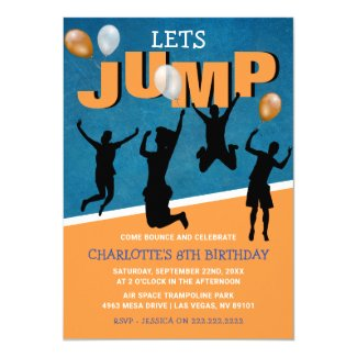 Lets Jump | Kids Trampoline Birthday Party Invitation