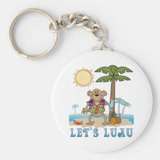 Lets Luau (Boy Monkey) Basic Round Button Key Ring