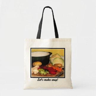 Let's make vegetable soup! budget tote bag
