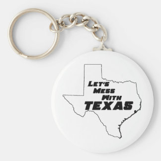 Let's Mess With Texas White Key Ring