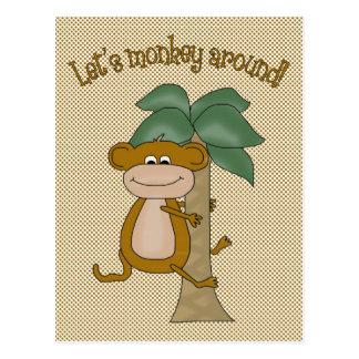 Lets Monkey Around Postcard
