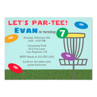 LET'S PAR-TEE Disc Golf Birthday Party Invitation