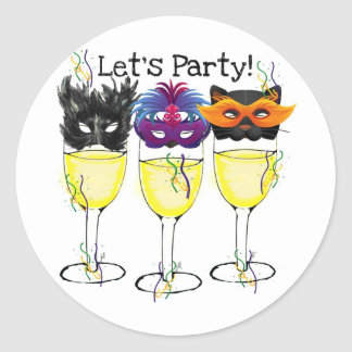 LET'S PARTY! CARNIVAL OR HALLOWEEN MASK WINE GLASS CLASSIC ROUND STICKER