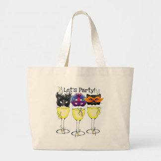 LET'S PARTY! CARNIVAL OR HALLOWEEN MASK WINE GLASS LARGE TOTE BAG
