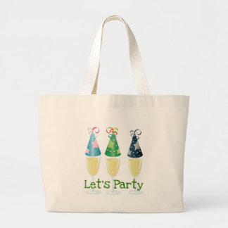 LET'S PARTY CHAMPAGNE PARTY HATS PRINT LARGE TOTE BAG