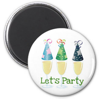 LET'S PARTY CHAMPAGNE PARTY HATS PRINT MAGNET