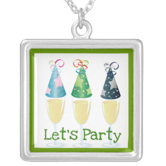 LET'S PARTY CHAMPAGNE PARTY HATS PRINT SILVER PLATED NECKLACE