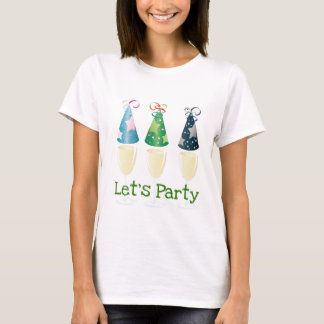 LET'S PARTY CHAMPAGNE PARTY HATS PRINT T-Shirt
